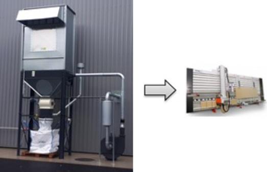 Système d'aspiration extérieur pour scie à panneaux verticale